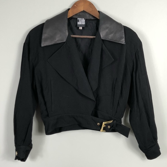 State of Claude Montana Jackets & Blazers - State of Claude Montana Leather Collar Crop Jacket